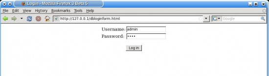 Figure 1: Login prompt shown by calling dbloginform.html