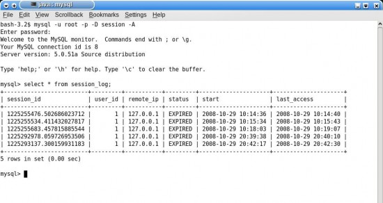 Figure 9: Session log maintained by the server