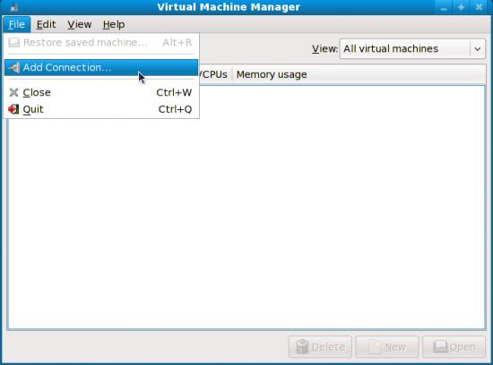 Figure 2: Virt-Manager first run