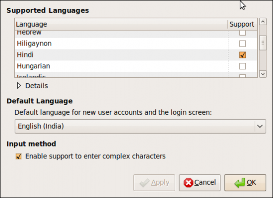 Figure 1: List of supported Indian languages