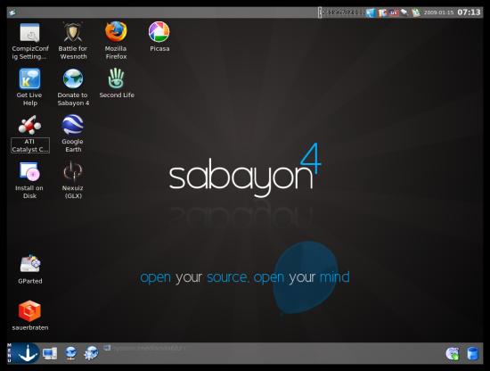 Figure 1: Sabayon's default KDE 3.5.x desktop