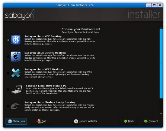 Figure 2: Desktop selection screen on Sabayon installer