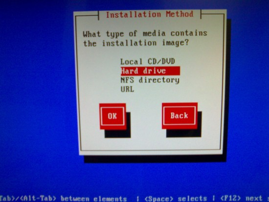 "Figure 2: Select ""Hard drive"" for ""Installation Method"""