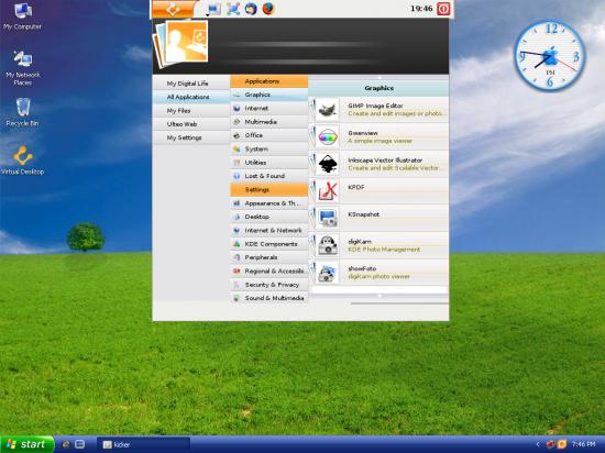 Figure 2: The Ulteo menu for applications