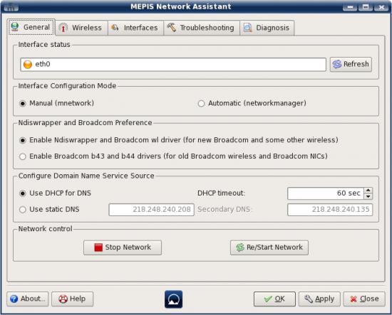 Figure 3: MEPIS Network Assistant