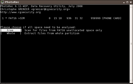 Figure 6: Recover files from the whole partition or from free space