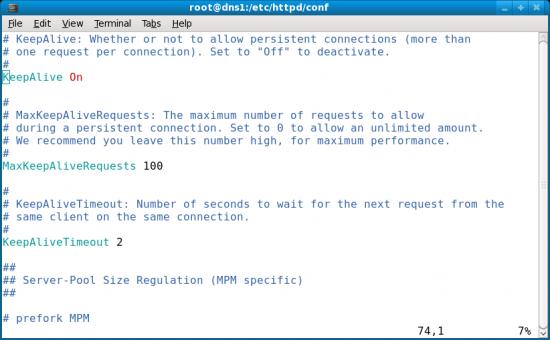 Figure 1: Enabling KeepAlive in Apache
