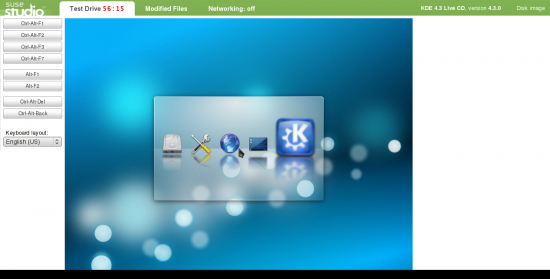 Figure 5: Running a test drive by booting KDE 4.3 in the browser