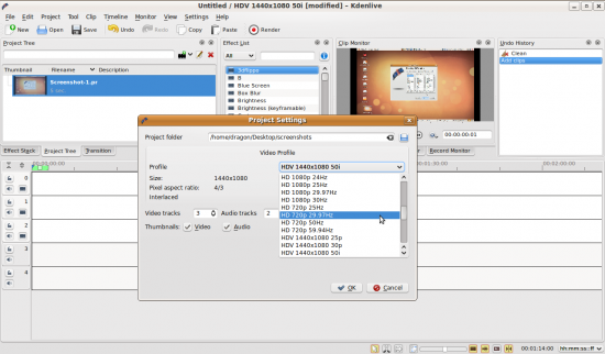 Figure 2: Selecting the video profile