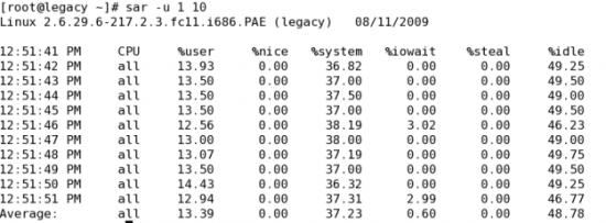 Figure 2: A sample sar output for CPU activity