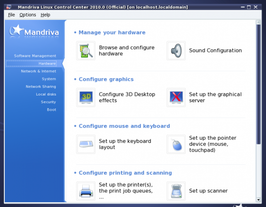 Figure 14: The Mandriva Control Centre continues to make life easier